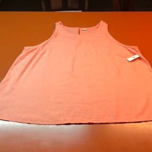 NWT Old Navy peach/pink tank top,size XL